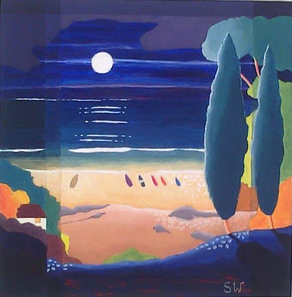 Boats in the Moonlight by Suzie Wainman