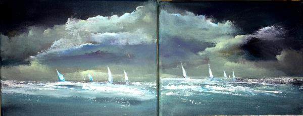 'Night Moves' Impressionist Seascape Dyptych 20
