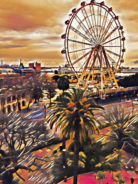 Ferris Wheel, Malaga, Spain by Memories A' broad
