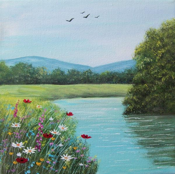 The Summer River Bank by Patricia Richards