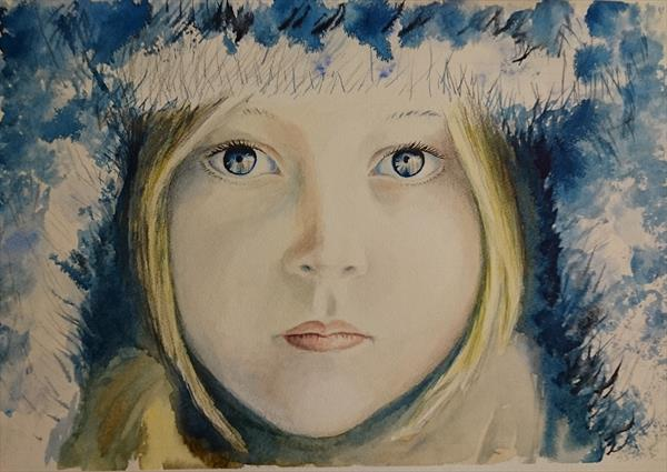 Winter girl face snow Artist watercolour paper A3 Mother's Day Easter Spring by Elena Haines