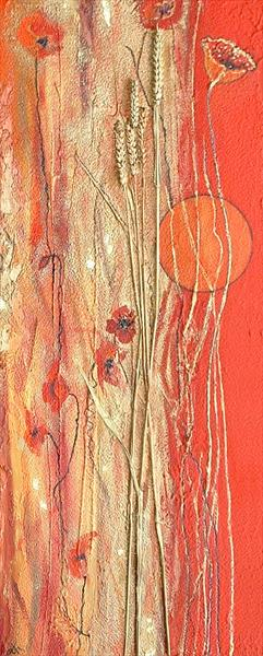Red Poppies and Gold Wheat by Cyndy Cmyth