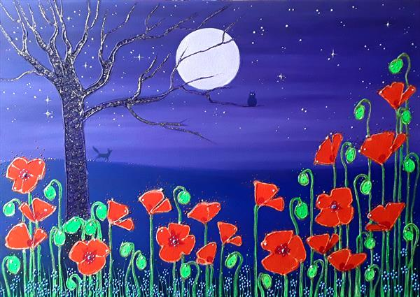 Poppies by the Lilac Moon by Angie Livingstone