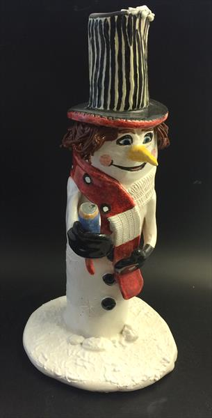 Boozy Christmas Snowman Ceramic Original  by Julie Anne