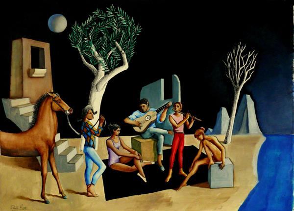Musicians in Archaic Landscape by Paul Rossi