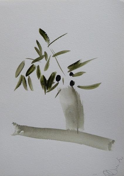 The Olive Branch, watercolour 21x29 cm by Frederic Belaubre