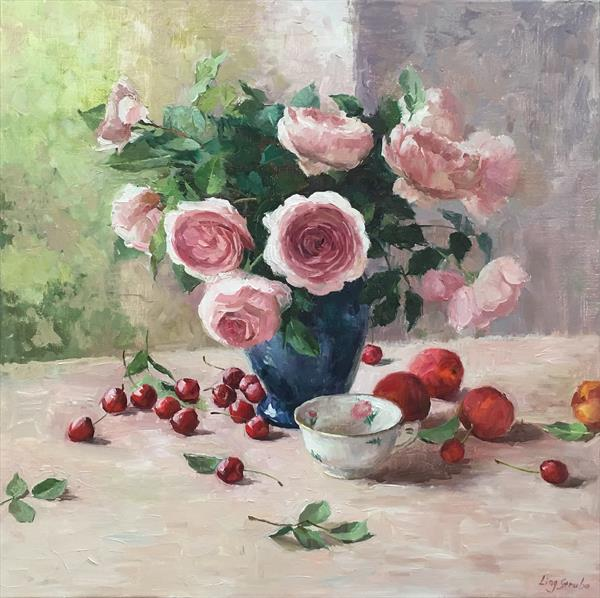 Austin Roses with Still Life by Ling Strube