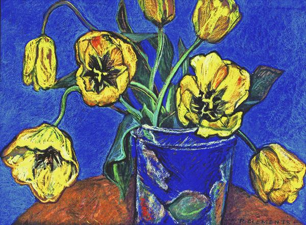 yellow tulips still life