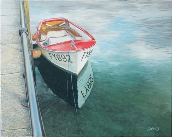Red Boat At Quayside by Ian Soames