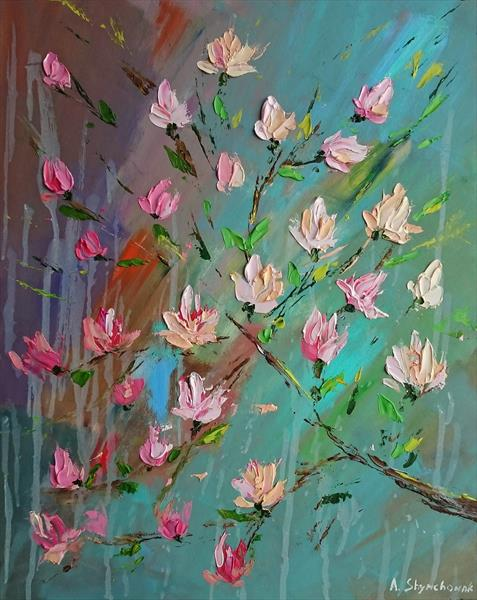 MAGNOLIA; ORIGINAL PALETTE KNIFE OIL PAINTING WITH TEXURE DETAILS; FRAMED by Alena Shymchonak