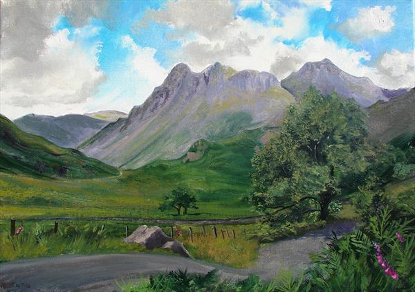 Little Langdale, plein air sketch 14/7/16 by Peter Brook