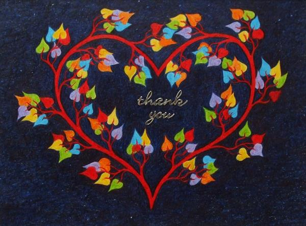 Thank You Heart Cards: Set of Two by Claudine Peronne