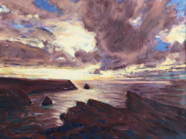 Sunset over Tintagel by Louise Gillard