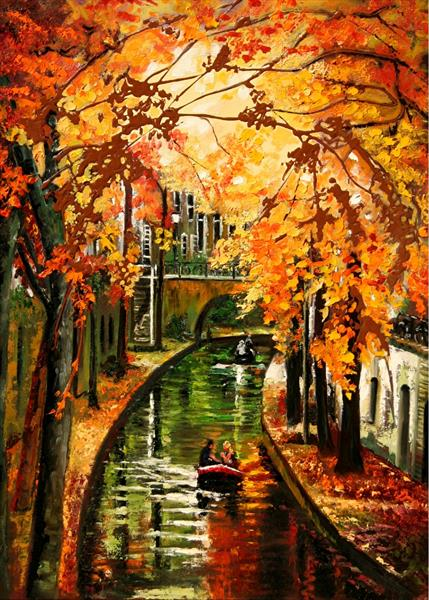 collectible ACEO prints... Art Cards Editions & Originals, Autumn in Utrecht by Yary Dluhos
