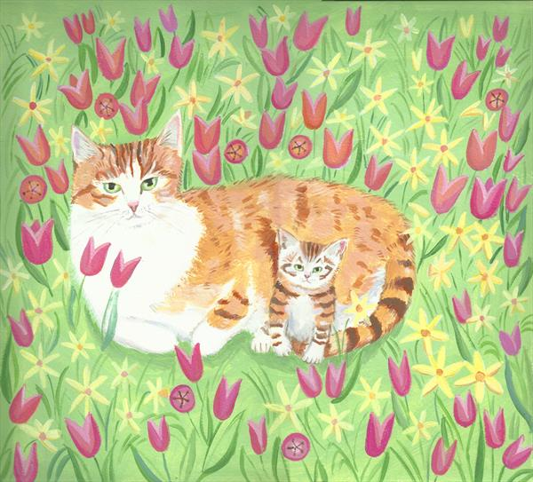 Ginger Cat with Kitten by Mary Stubberfield