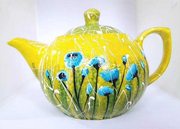TURQUOISE  POPPIES PORCELAIN TEAPOT by Cinzia Mancini