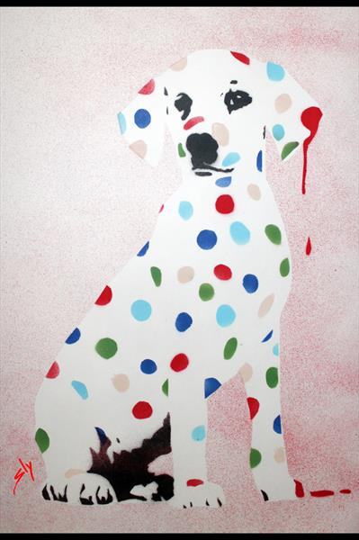 DAMIEN'S DOTTY, SPOTTY, PUPPY DAWG (IN GIRLY PINK!) + FREE POEM by Juan Sly