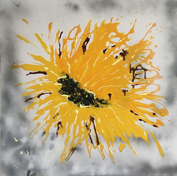 Abstract sunflower by Nineke Havinga