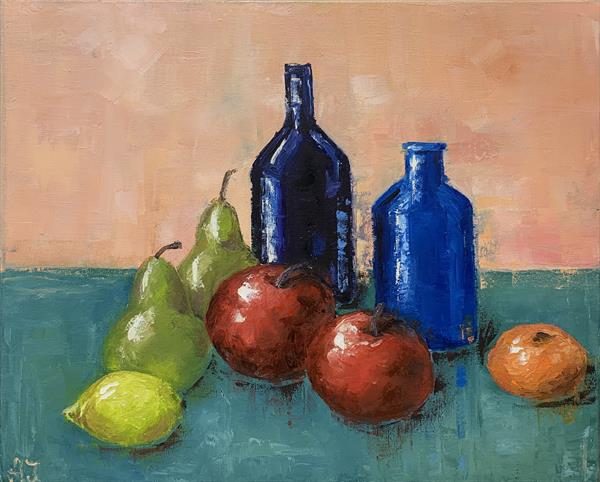 Still life with two blue bottles  by Anastasia Jankovic