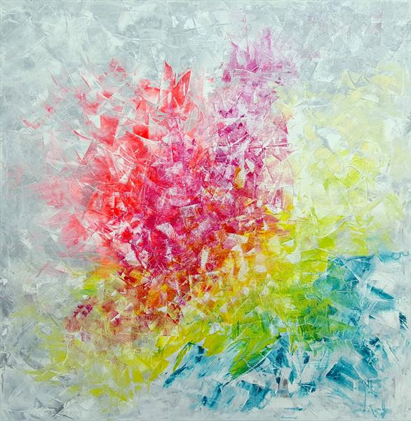 Frozen in time - XL floral palette knife painting by Ivana Olbricht