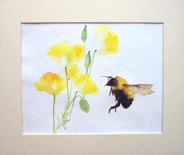 Bee Yellow Welsh Poppies by Teresa Tanner