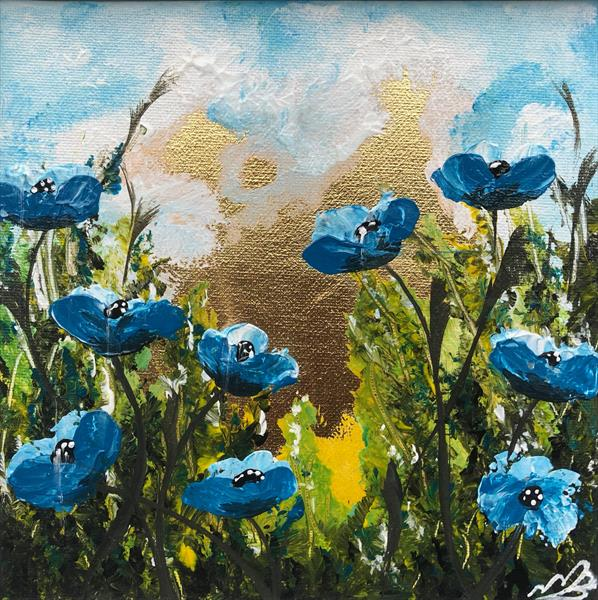 Blue poppies on gold leaf by Marja Brown