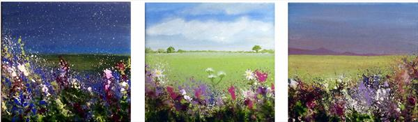 Wild Meadow Night Turns Into Day and Back Again TRIPTYCH by Roselind A'rt