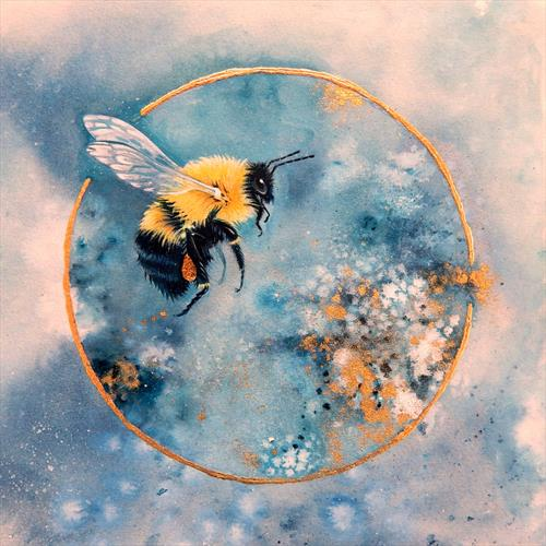 Bumble Bee on Gold by Denise Coble