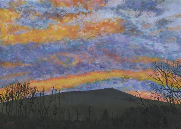 Ugborough Beacon at sunset by John Van Der Kiste