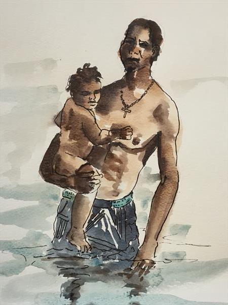 First Swim with Dad. by Wendy Clouse