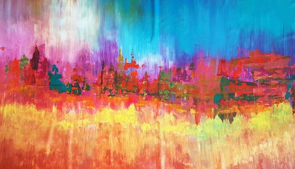 November rain - XXL colorful autumnal abstract landscape by Ivana Olbricht