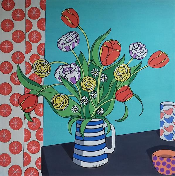 Still Life 1 - Turquoise - Flowers in a Vase and Pots by Janette Carter