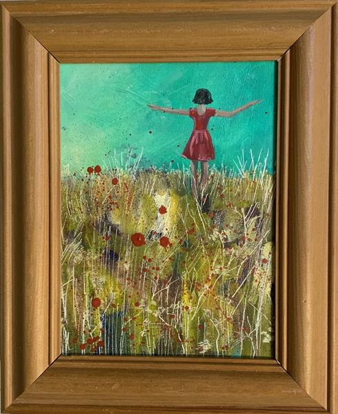 Dancing in the poppies ( framed original art) by Sarah Gill