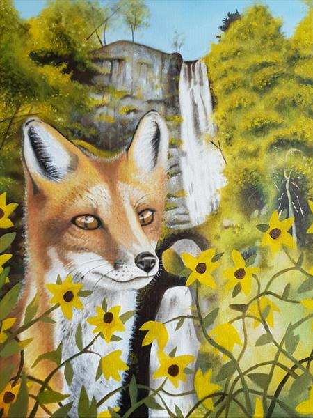 Fox at the Waterfall  by DAN BROWN