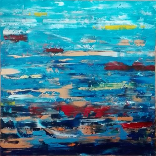 BLUE DREAMING. Large Square Abstract  by Dermot Daly