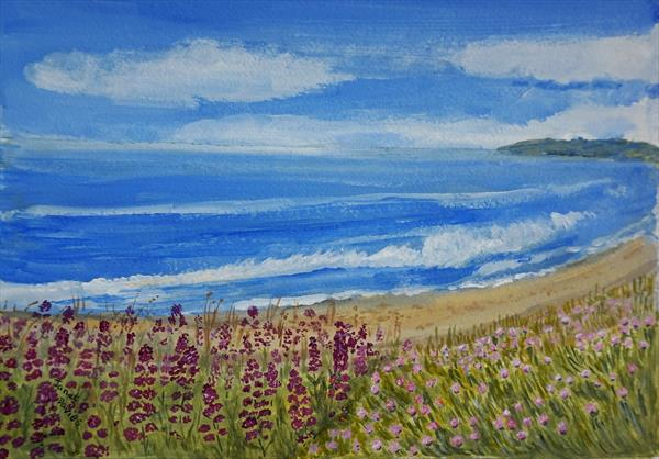 Wildflowers By THe Beach by Janet Davies