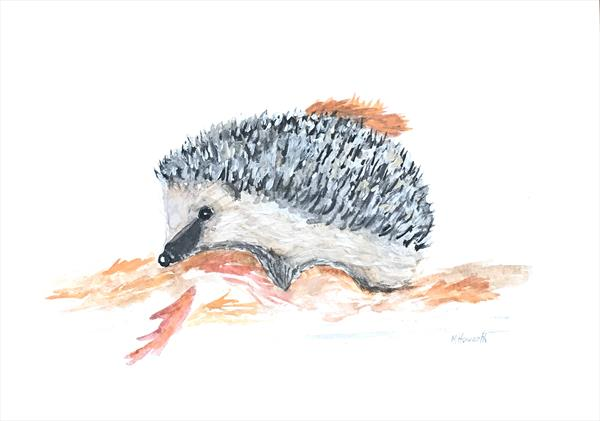 Hedgehog watercolour painting
