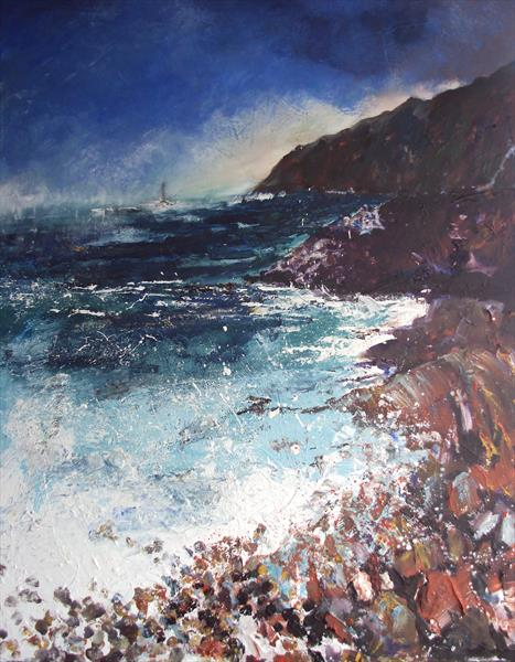 Distant Lighthouse Seascape by Teresa Tanner
