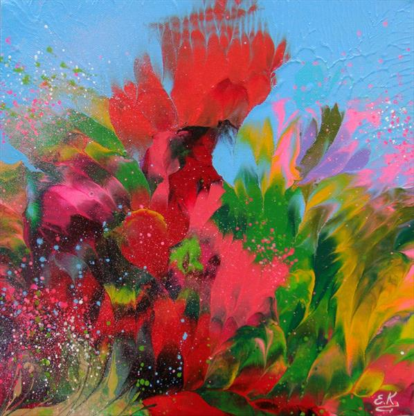 """Poppies"" Abstract Flowers Small painting"
