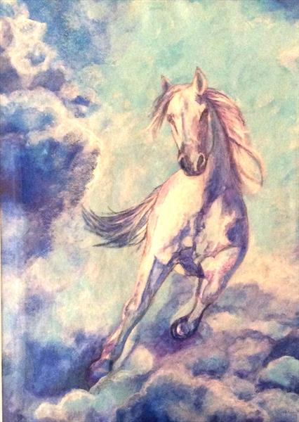 White horse galloping through blue mist by Helena Manchip