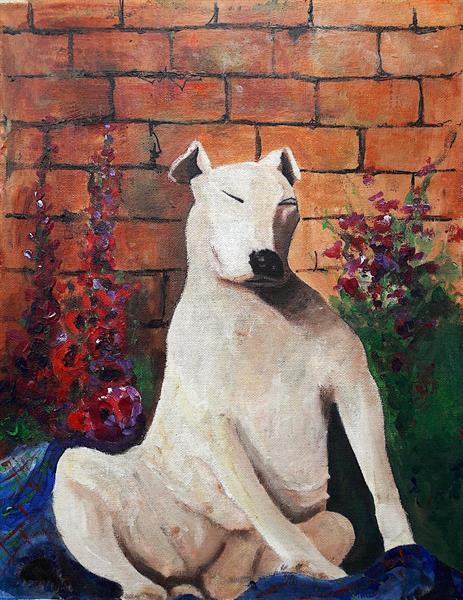 Dog with Hollyhocks by Teresa Tanner