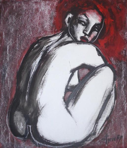 Red Haired Nude Lady 2 by Carmen Tyrrell