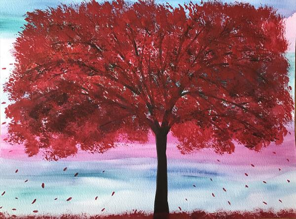 Red autumn tree nr6 by Monika Howarth