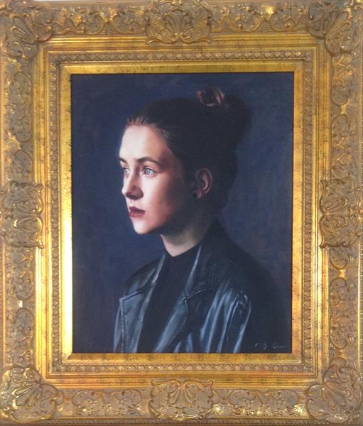 Girl in the Leather Coat  ( framed original )  by Christopher Gill