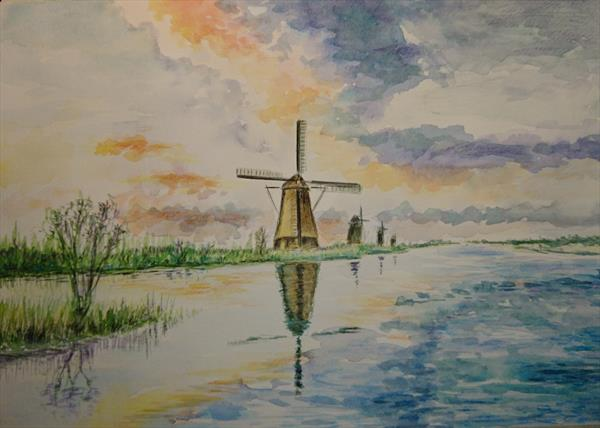 Windmill by the river Sunset A4 Artist watercolour paper Winsor & Newton by Elena Haines