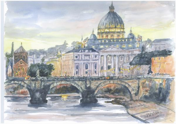 The Angels Bridge Rome River Tiber by Phil Willetts