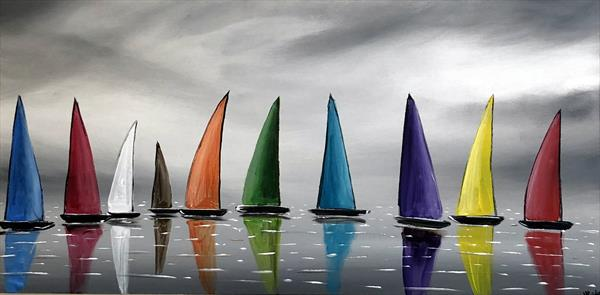 Colourful Stormy Sails 3 by Aisha Haider
