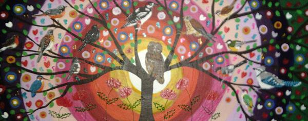The colourful  Rainbow  Tree of Life with Birds by Casimira Mostyn
