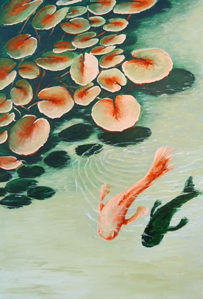 Pond - Water Lilies and the Koi by Danijela  Dan