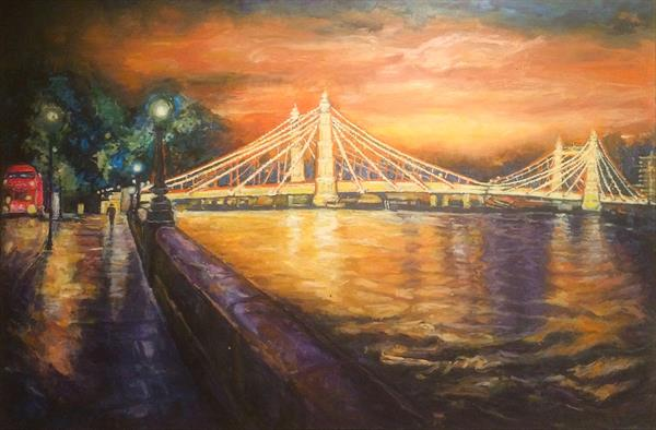 Albert Bridge evening sunset by Patricia Clements